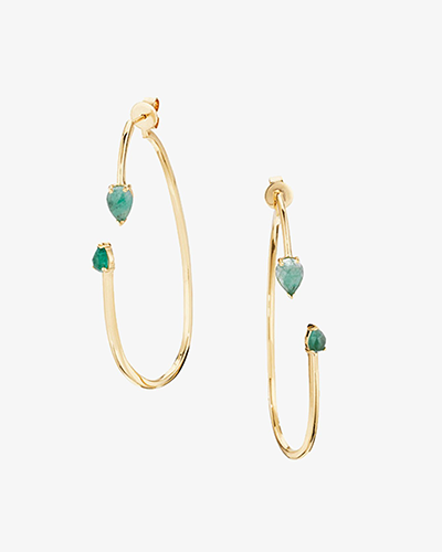 TWO PART HOOP EARRINGS Yellow Gold & Emerald