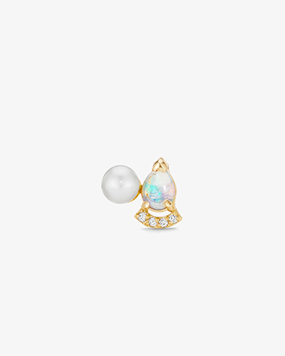 STUD WITH PAVÉ BAR Yellow Gold, Pearl & Opal