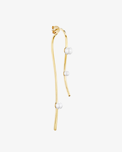 FLOU CURVED EARRING Yellow Gold with Pearl