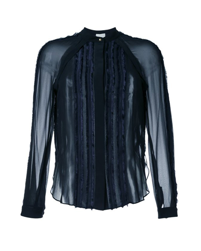 3.1 PHILLIP LIM  Frayed Trim Sheer Shirt