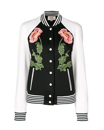 GUCCI  Floral Embroidered Bomber