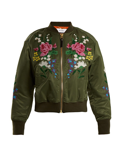 MUVEIL  Cross-Stitch Embroidered Bomber