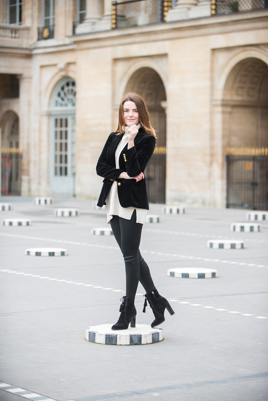 Catherine wearing tried and true style staples in Paris (photos by Brandie Raasch)