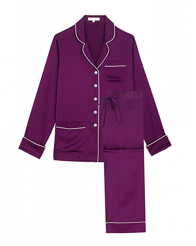 OLIVIA VON HALLE  Coco Mulberry Long Silk Pajama Set