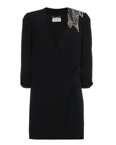 SAINT LAURENT  Crystal Embellished Mini-Dress