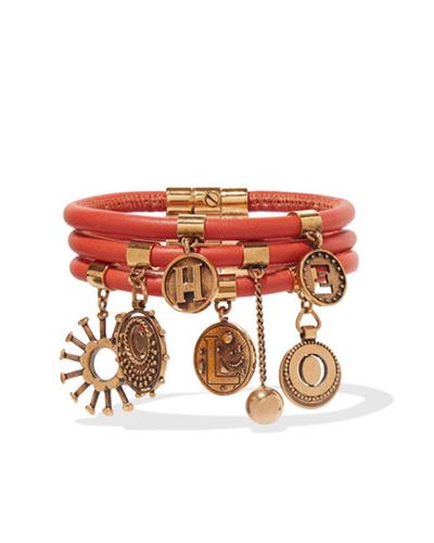 CHLOÉ  Leather and Gold Charm Bracelet