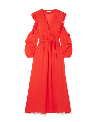 MAJE  Ruffled Chiffon Midi Dress