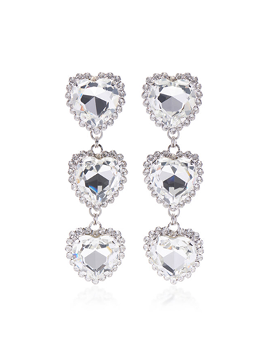 ALESSANDRA RICH  Long Crystal Heart Earrings
