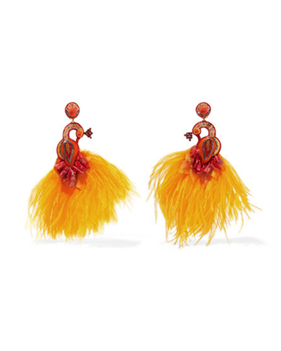 RANJANA KHAN  Passerine Feather And Crystal Clip Earrings