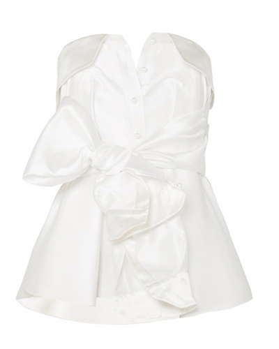 ALEXIS MABILLE  Bow-detailed Satin-twill Top
