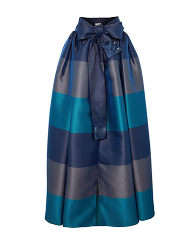 ALEXIS MABILLE  Bow-detailed Striped Satin-piqué Maxi Skirt