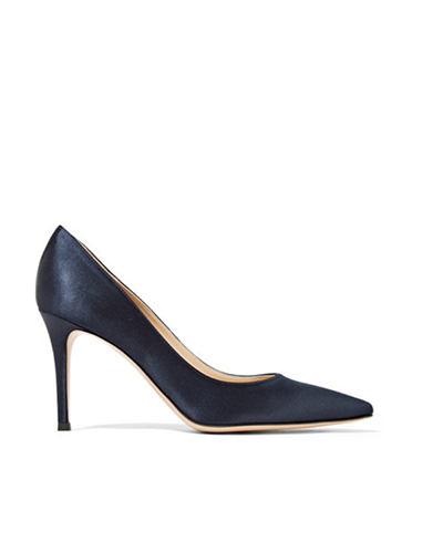 GIANVITO ROSSI  Navy 85 Satin Pumps