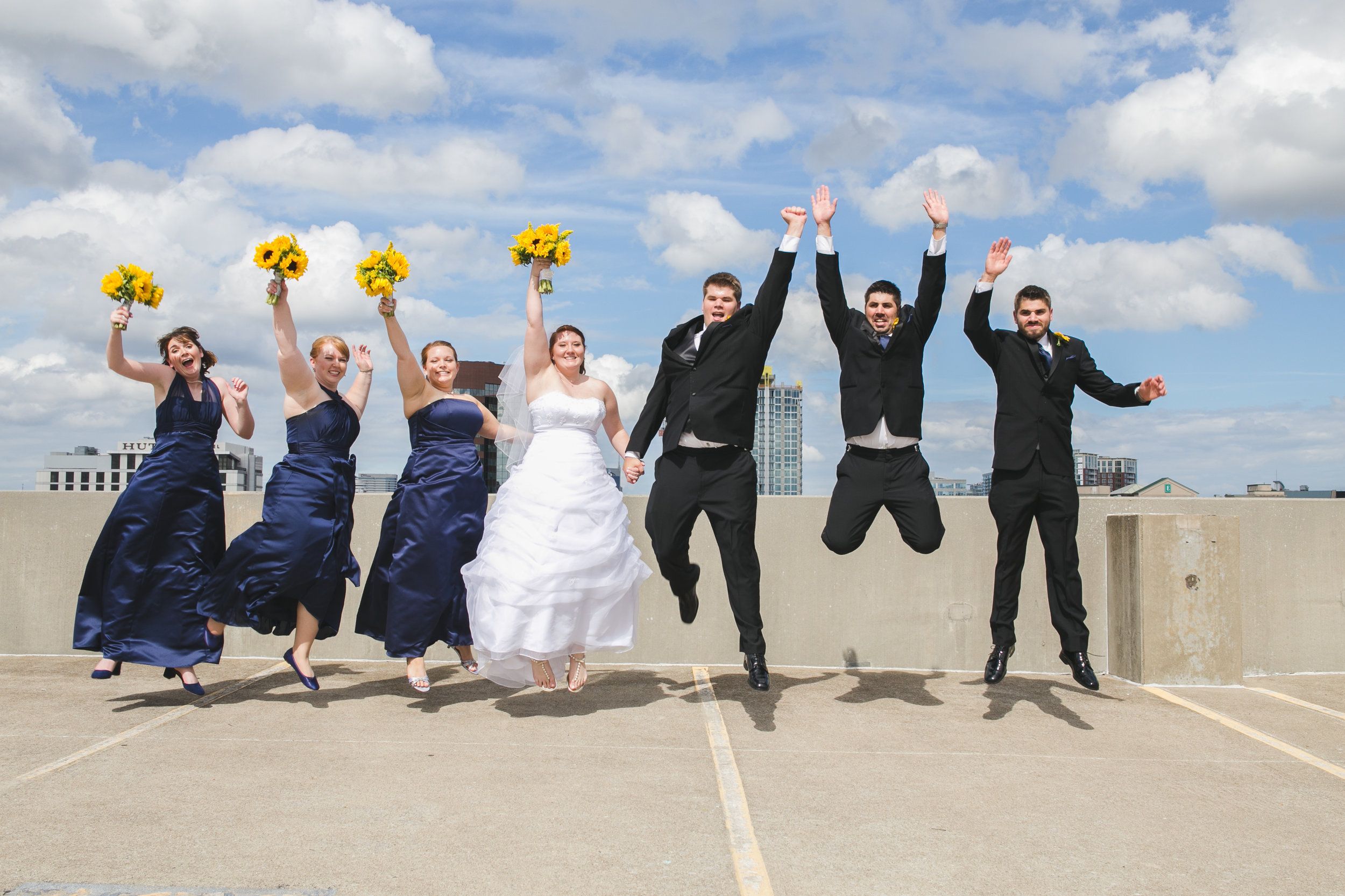"Having a bit of ""jump fun"" with the bridal party."