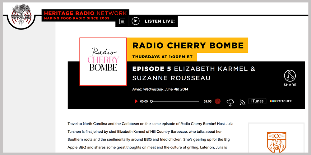 Heritage Radio Network  -  Cherry Bombe  | JUNE 4, 2014   LISTEN