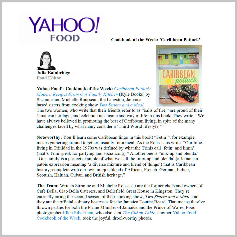 Yahoo  -  Cookbook of the Week |  FEBRUARY 17, 2015   GO TO ARTICLE