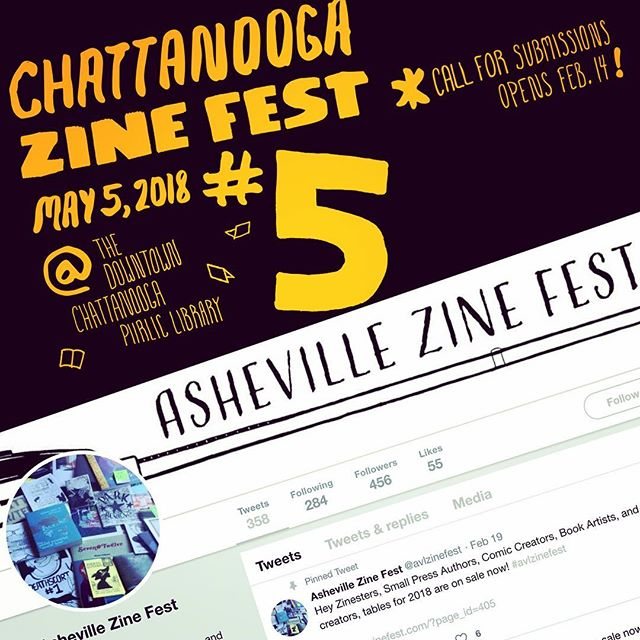 PSA: Chattanooga & Asheville Zine Fests are both open for submission! Both worth the trip! Have you seen the incredible FREE maker space on the 4th floor of Chattanooga's public library? It fucking rips! // Pile in the whip and hit the road! Get a table or just got shopping! Trade some zines and make some friends!  LIVE A LITTLE!!