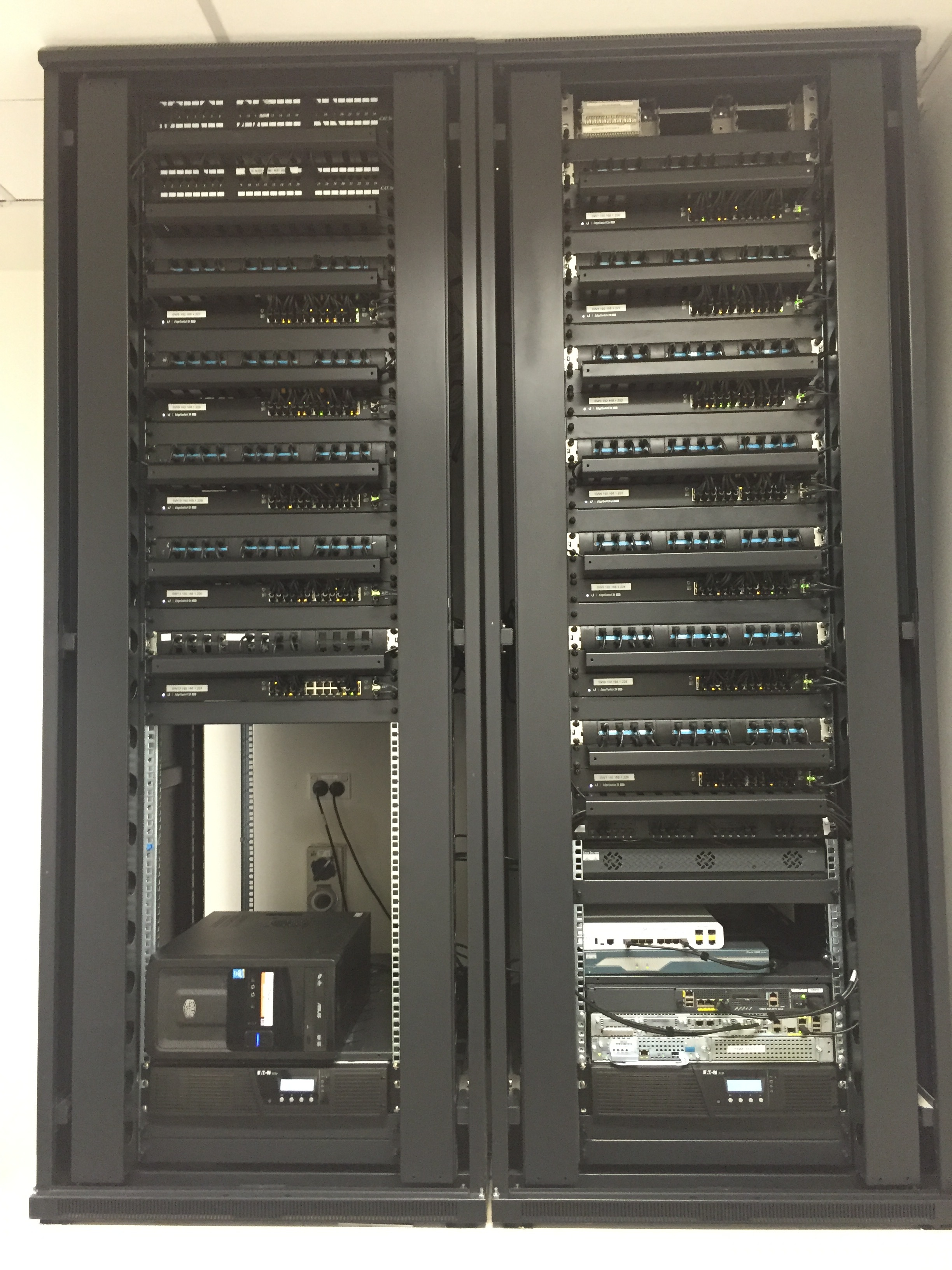 After: All equipment installed in new racks, before patching