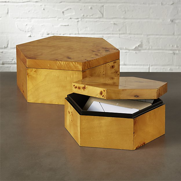 BURL WOOD HEXAGON STORAGE BOXES - $20-25   For the Organizer - Store stuff in Style!