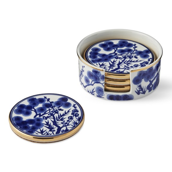 CHINOISERIE CERAMIC COASTERS - $50   Couldn't leave these beauties off the list - how gorgeous are these blue & white coasters with the gold rim!