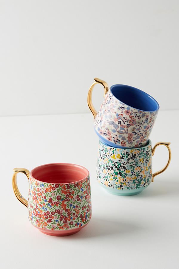 LIBERTY OF LONDON MUG - $14   Add some chocolate dipped marshmallows or hot chocolate mix & you're all set!