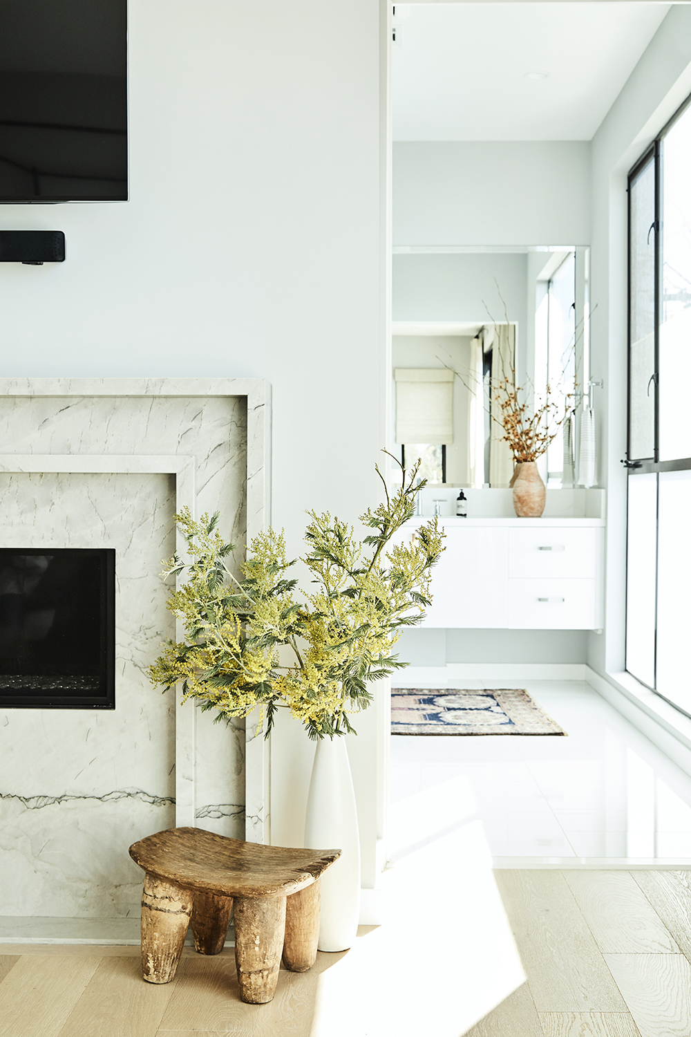 White modern master bathroom design by Carly Waters Style