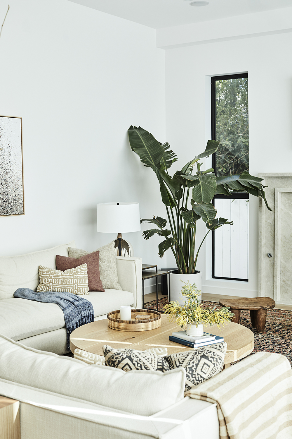Warm living room design by Carly Waters Style