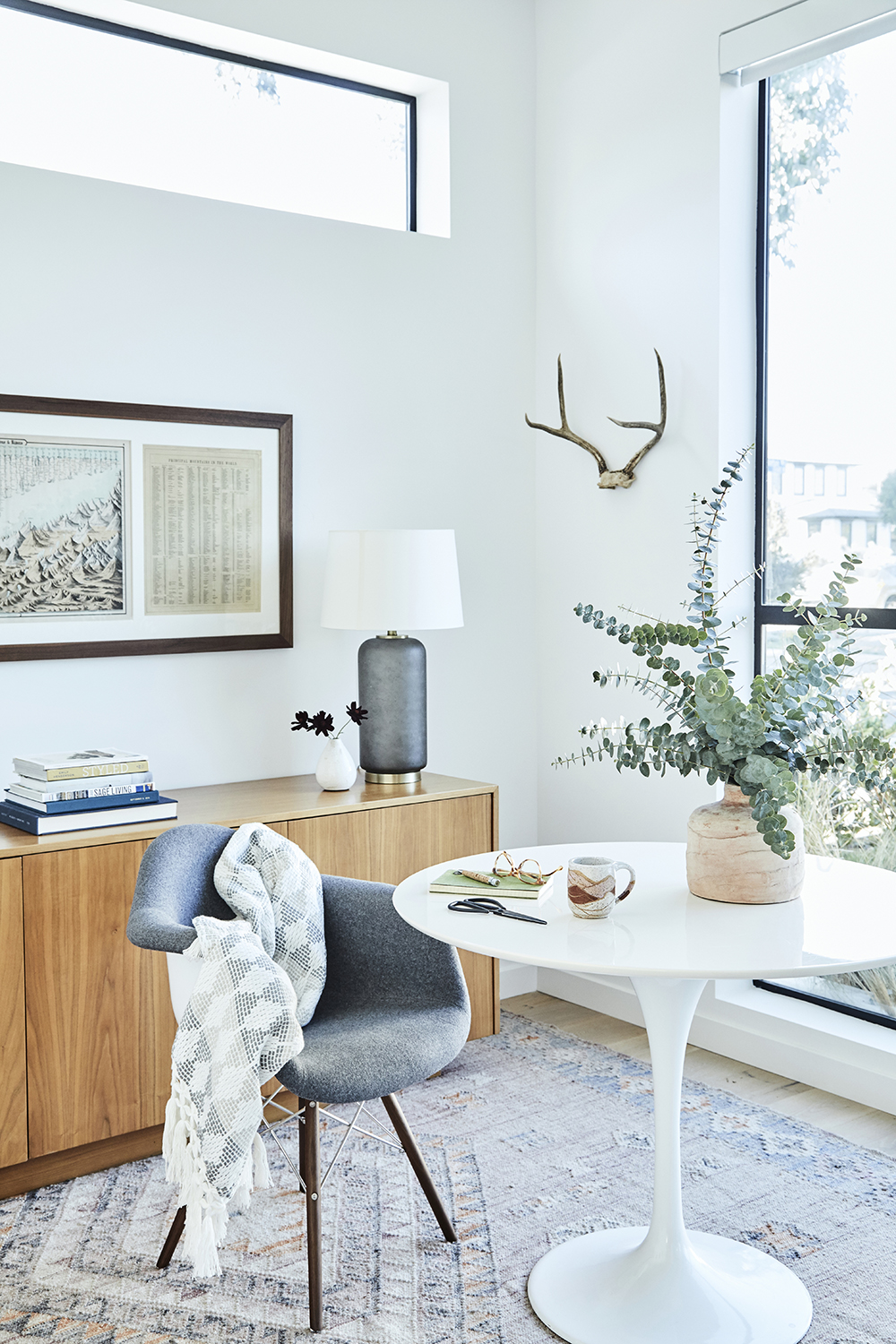 Modern minimalist office space design by Carly Waters Style