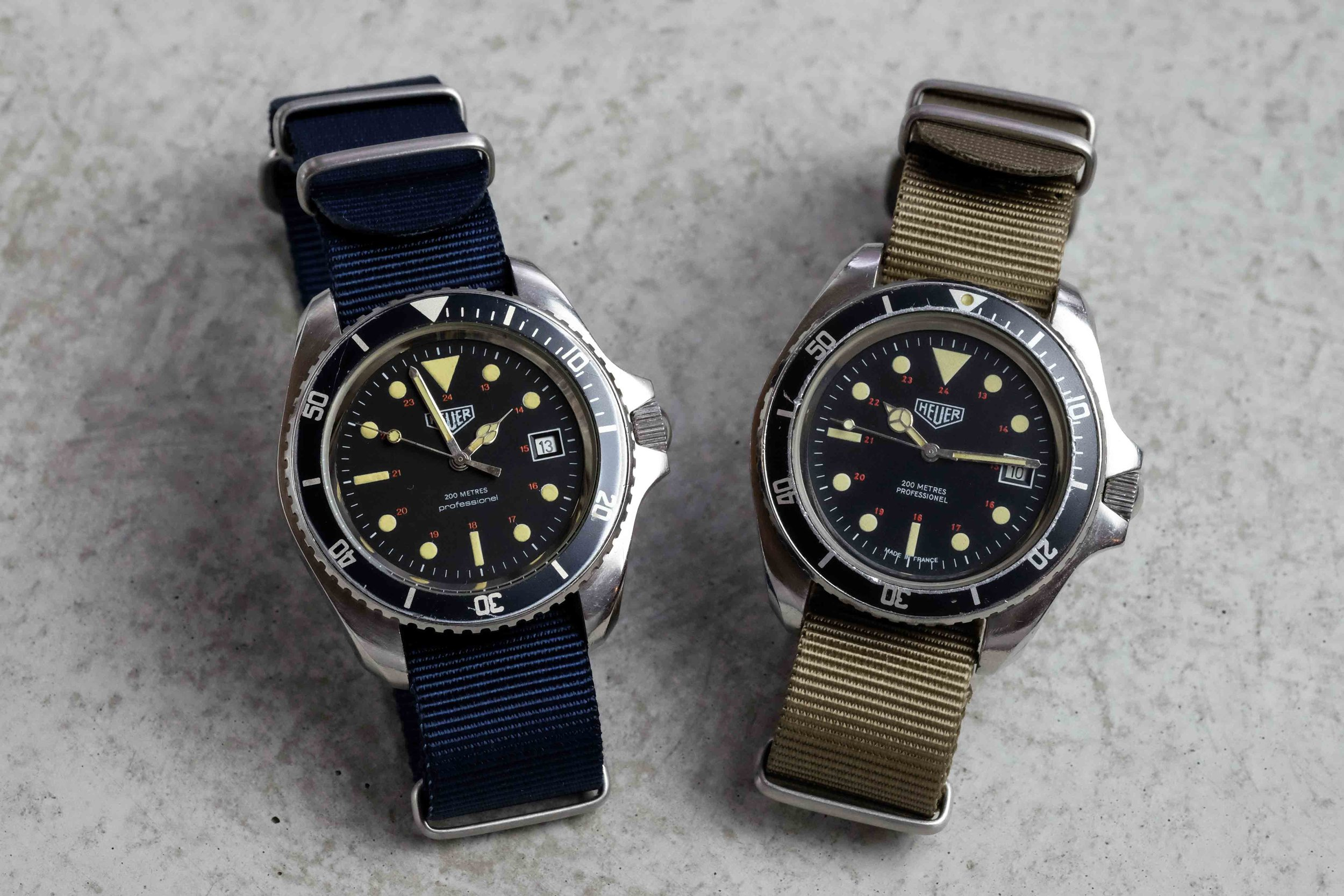 First (left) and second (right) iterations of the French-made Heuer Monnin 844