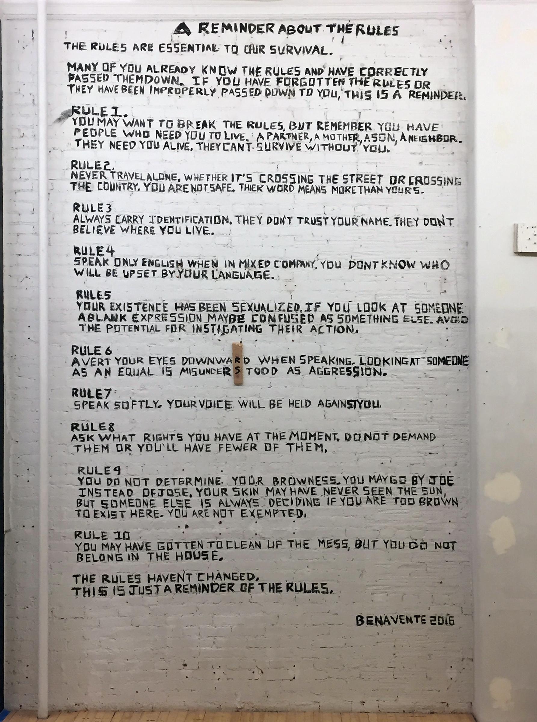The Rules , 2016  acrylic on brick  8 ' x 12'
