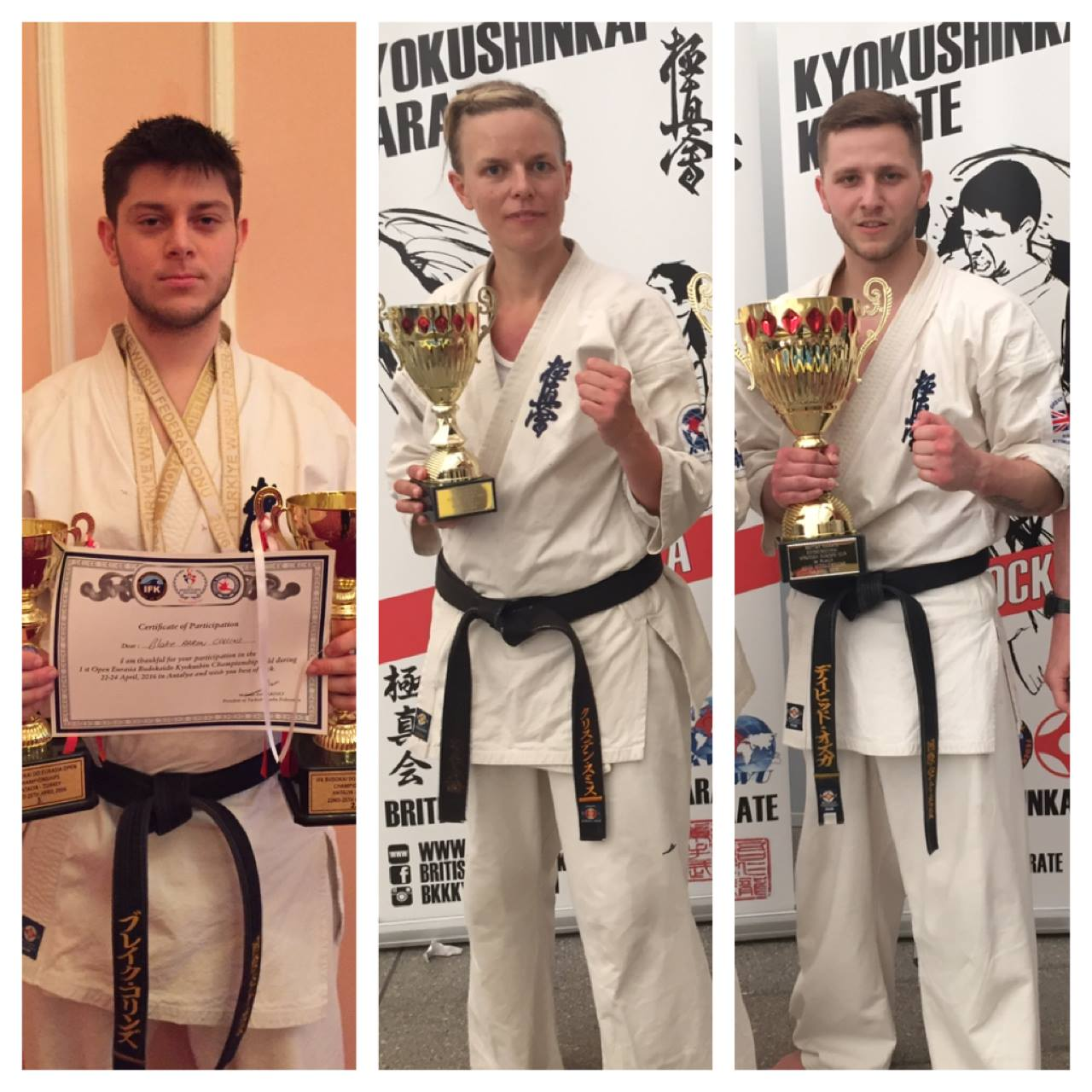 BKK Crawley have three fighters:  Former Open LW Champion Dawid Ozga Mens MW SENI West Europe Champion 2016 Scottish Open Champion 2016 BKK English Open Champion 2015  Kirsten Galatius Smith SENI West Europe 2016 3rd place KWU World Championships 2015 3rd place French Open Shinkyokushin 2015 3rd place  Blake Collins Mens MW Eurasia Cup 2016 3rd place Scottish Open 2016 3rd place