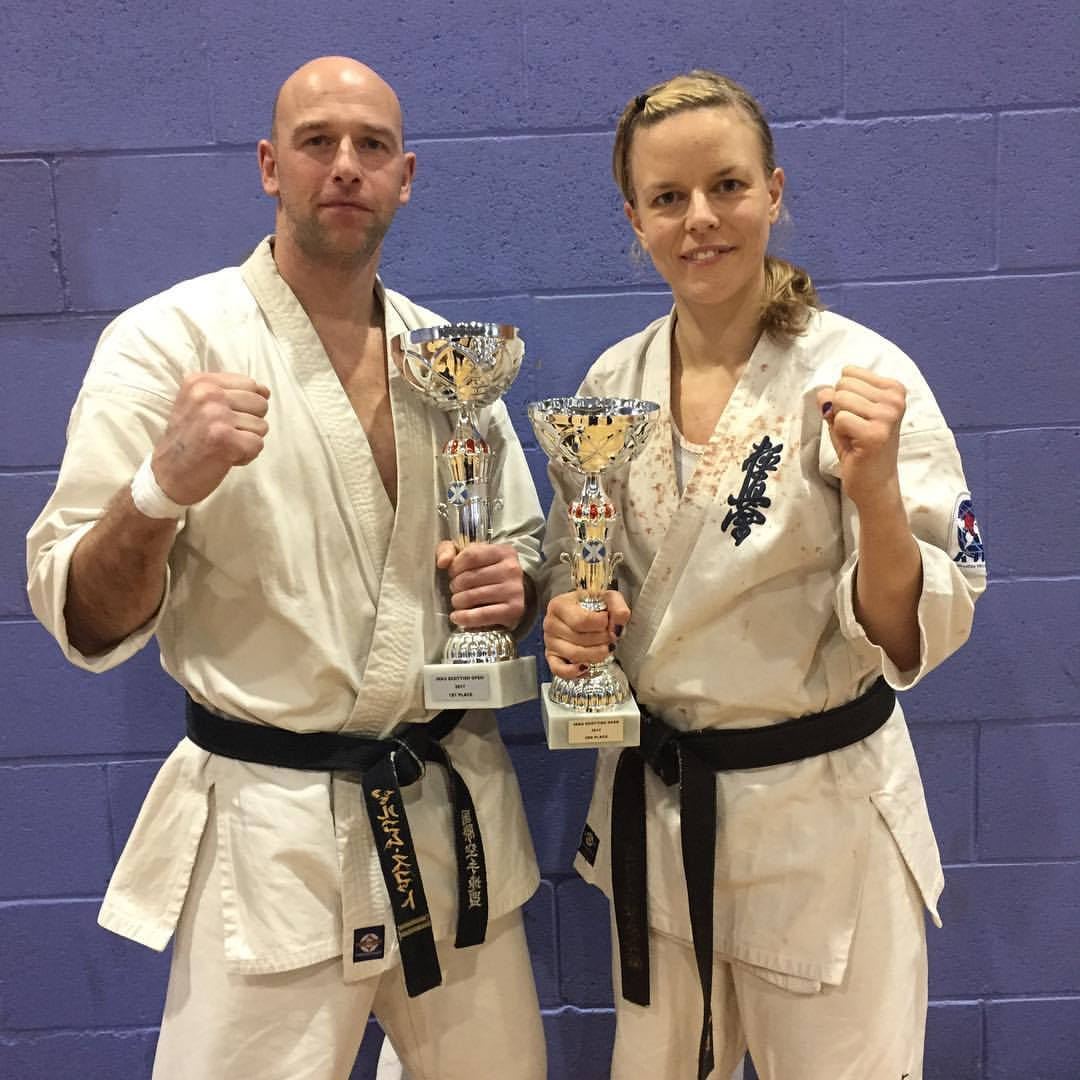 BKK Crawley fighters Malcolm Scott, 1st (Over 40s HW) and Kirsten Galatius-Smith, 3rd (Open HW)