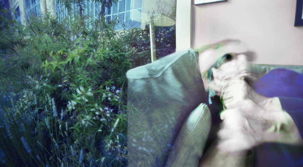 Self Portrait on couch with herb garden outside. Two ten minute exposures.