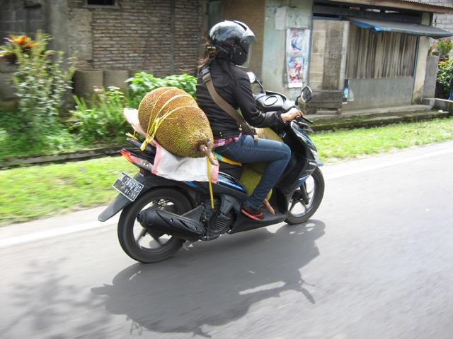 Balinese woman with jackfruit on motorcycle