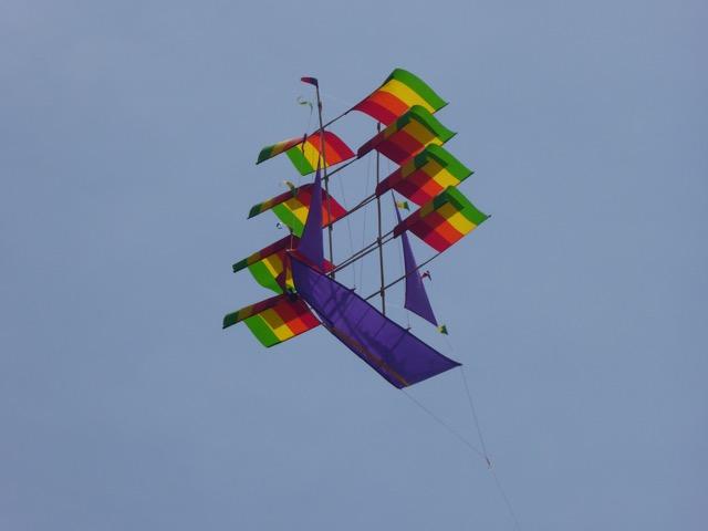 Kite flying over Bali Sea