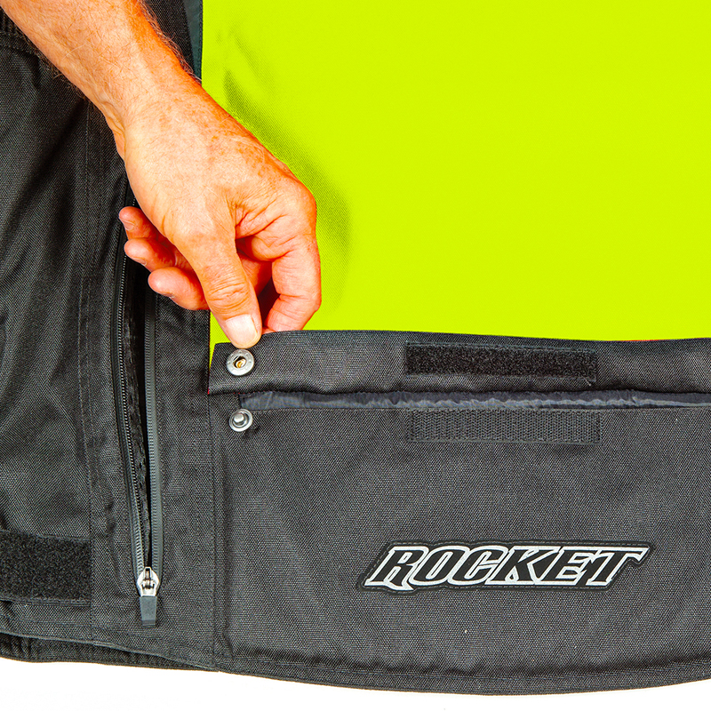5. Large padded lower back storage pocket with hook and loop snap closure
