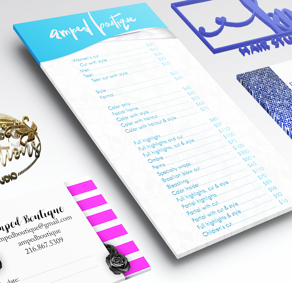 Designs to increase brand awareness and promote your business inside and out; flyers, postcards with direct mail, newspaper ads, magazine ads, coupons and more.We also have great discounted printing available for any marketing need. -