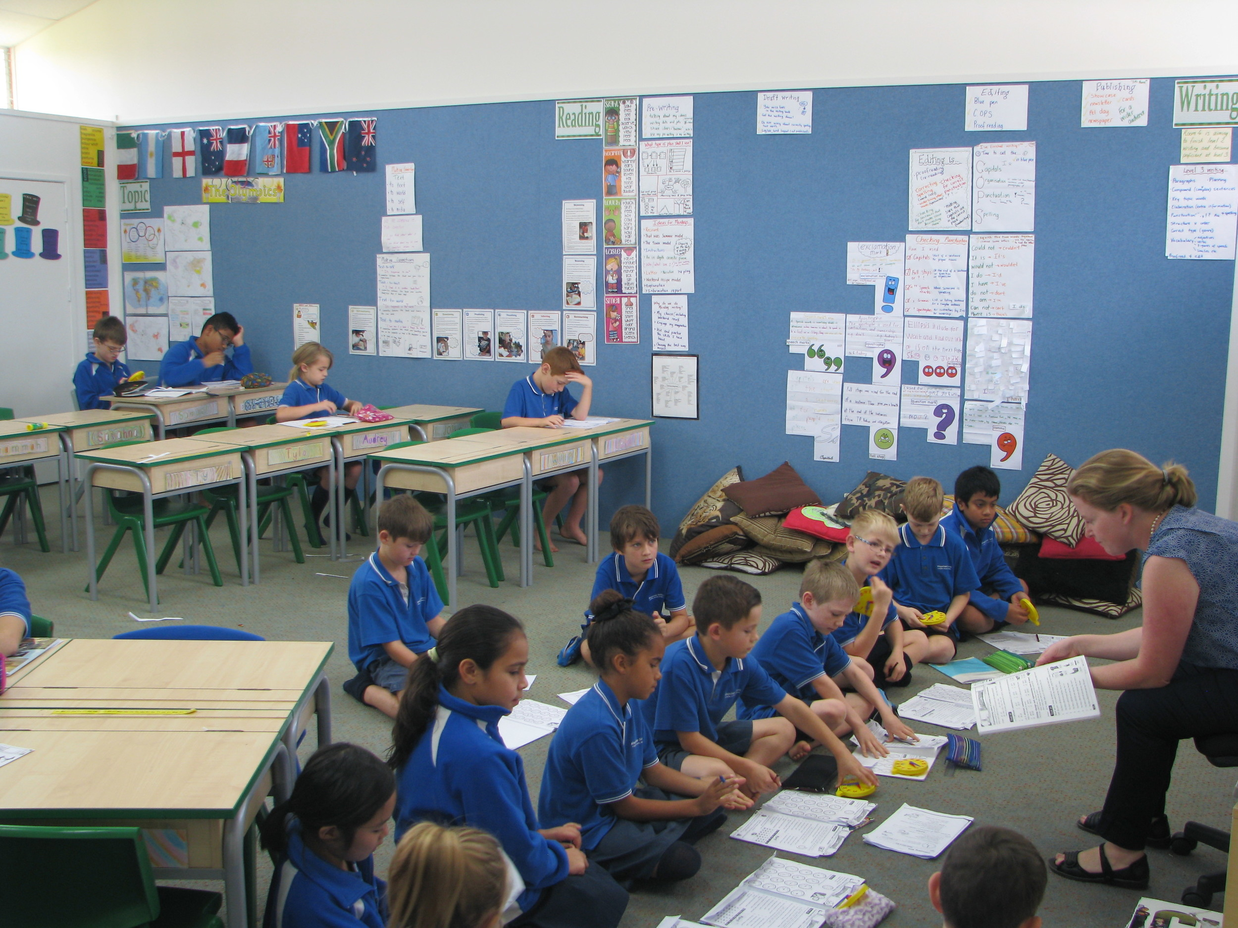 Our hall transformed into two classes.