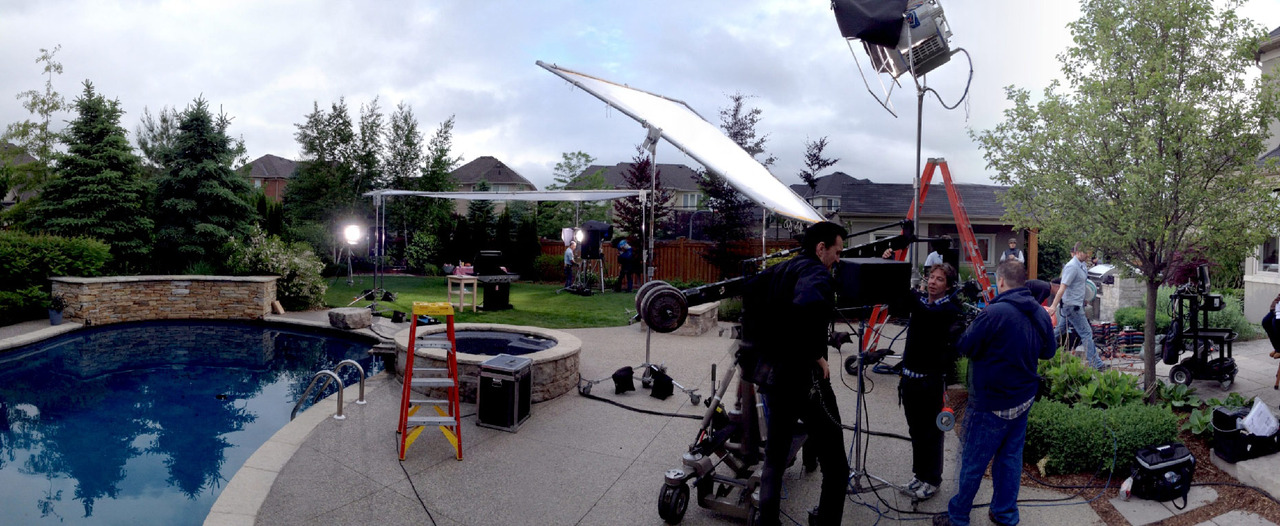 On set for PC. Camera system was RED EPIC, shot at 4K on this one- underslung on a Labmda head with an Optimo 24-290mm zoom lens (yes, it is super sweet). A grey, drizzly day, we managed to bring the sunshine with some big HMI units and a lot of specials here and there! Thanks to the crew, especially the Lighting Dept.!