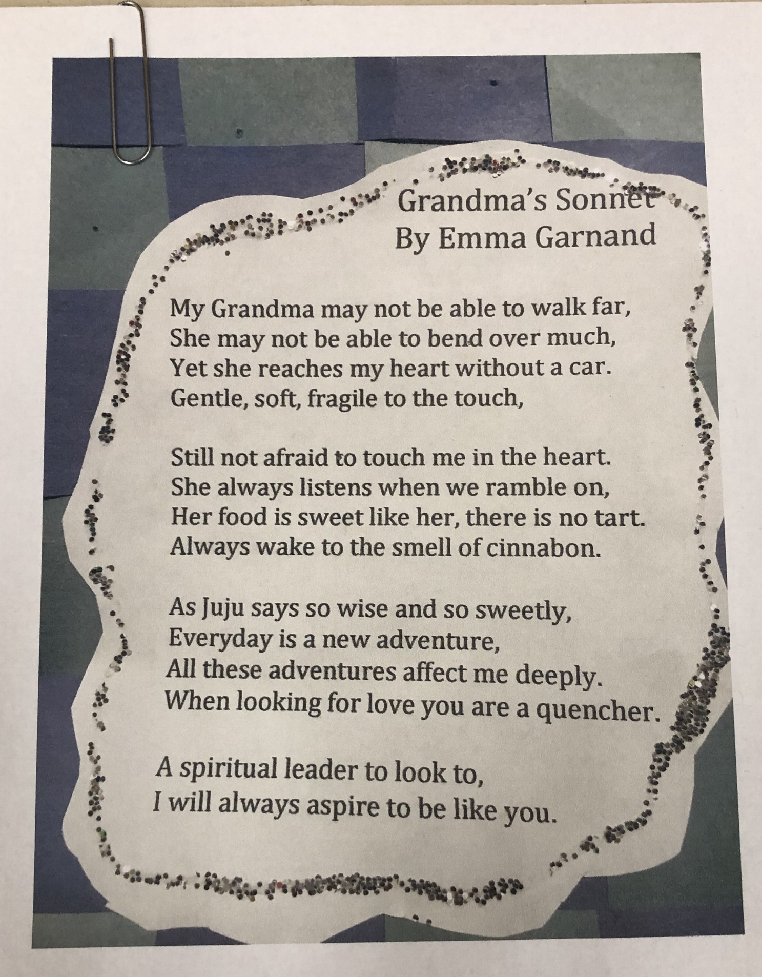 Ed and Pat Scott's granddaughter wrote this sonnet :)