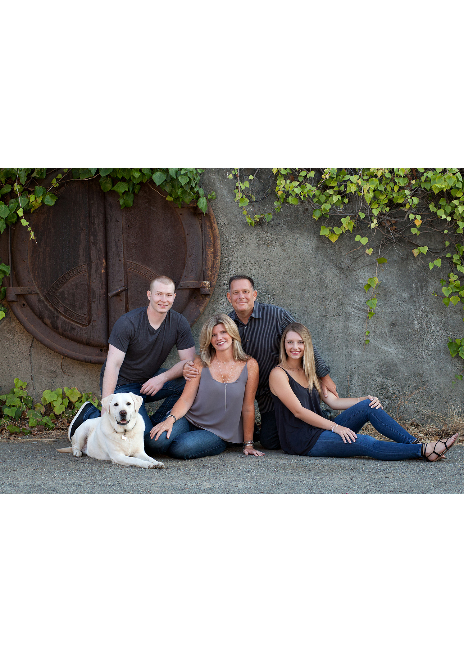 outdoor urban family portrait with dog