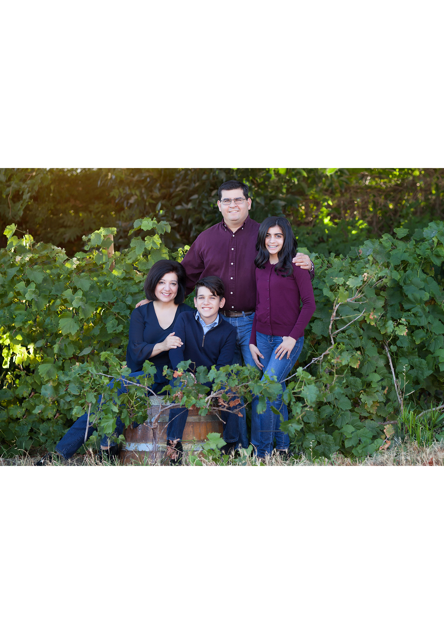 wine country family portraits outdoors