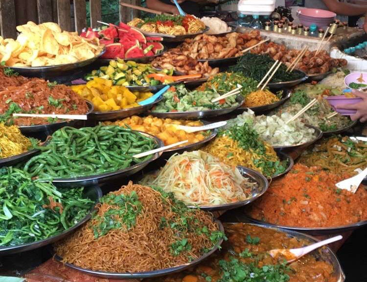 Vegetarian buffet at market. All you can eat, $1.50 per bowl. We ate here almost everyday we were in Luang Prabang.