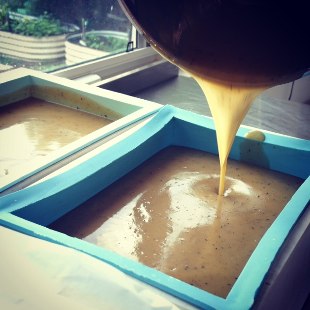 Pouring our certified organic Sandalwood soap in the Mokosh studio.