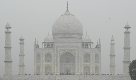 The Taj Mahal was surrounded by fog on the day we visited.
