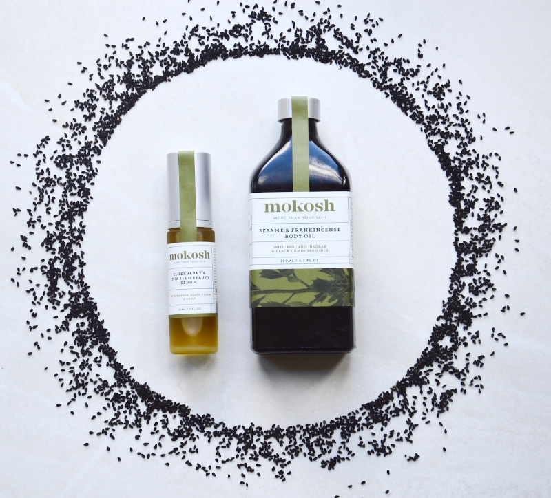 Our  Elderberry & Chia Seed Beauty Serum  and our  Sesame & Frankincense Body Oil  contain certified organic black cumin seed oil.