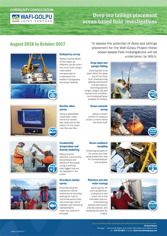 DSTP ocean-based investigations -