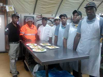 Up-skilling locals in catering - Oct 17, 2017 - Seven Kitchen Hands at the Wafi-Golpu Project camp mess are currently...