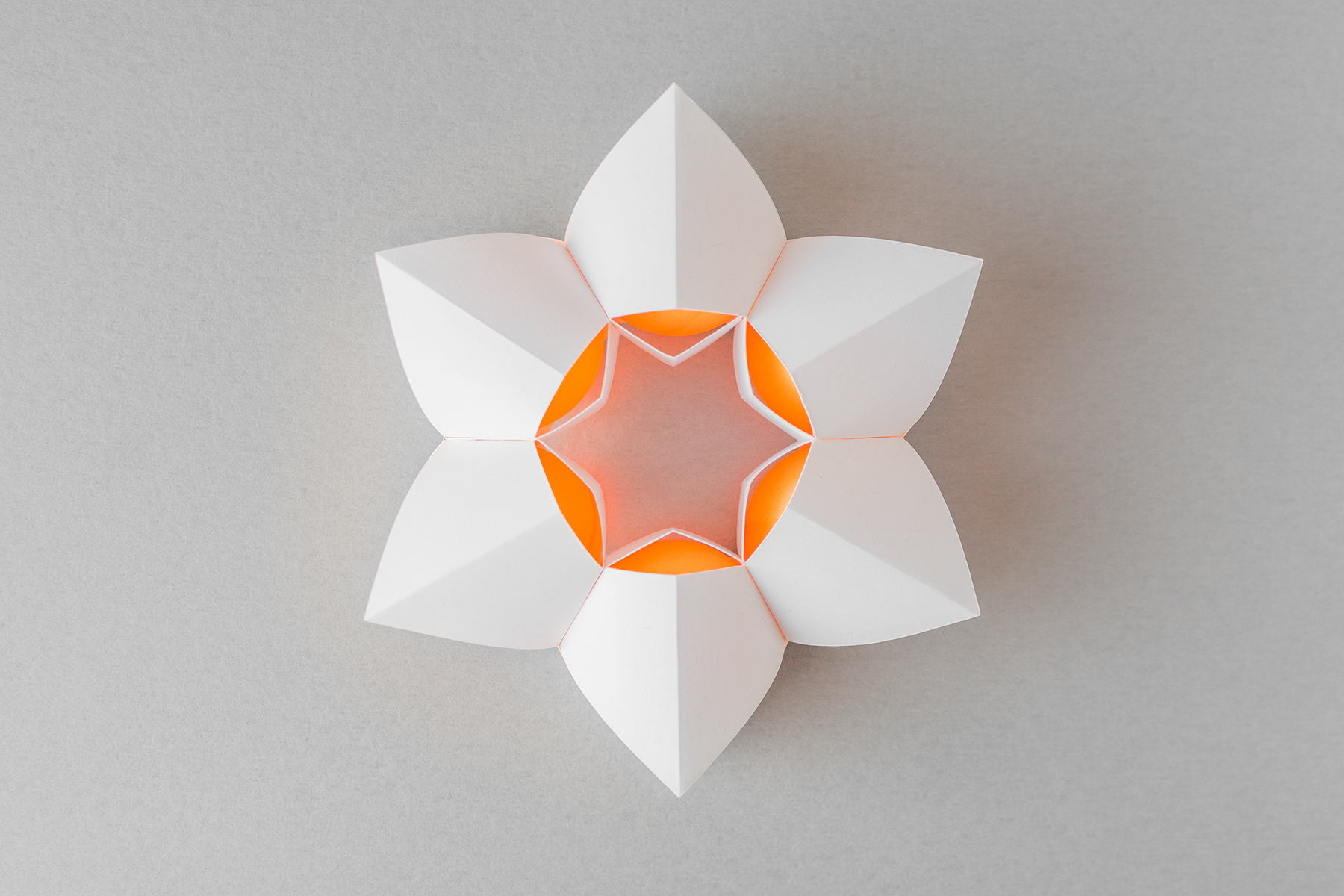 Ping Pong Ball Packaging - This is packaging for six ping pong balls using one piece of white card stock. It was hand-cut, folded, and adhered with super glue. The form was inspired by a lotus, and the six balls securely nest in each individual section of the structure.