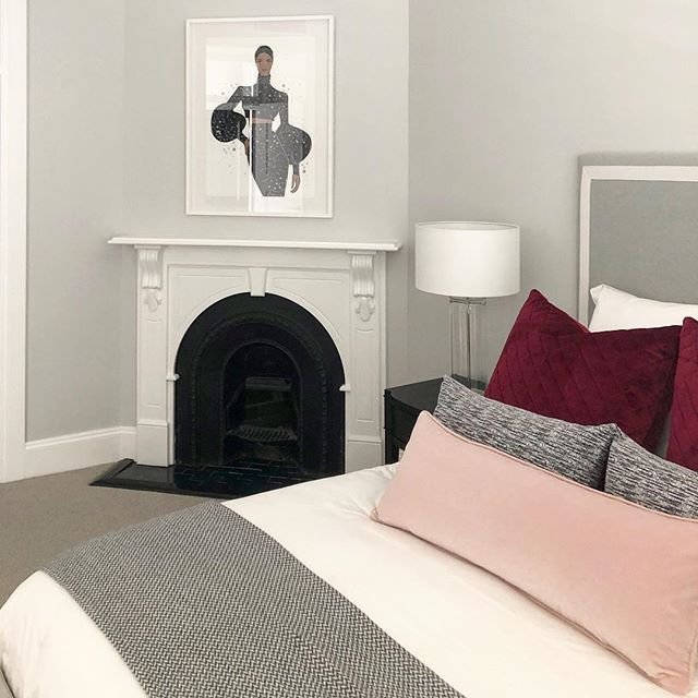 The master bedroom at our Drummoyne Residence is looking fabulous with a touch of claret and blush pink.  #interiordesign #interior #design  #styling #decor #instastyle #blackandwhite #claret #burgundy #blush #pink #bedroomdesign #bedroomdecor #luxury #meganhess #texture #pattern #sydney
