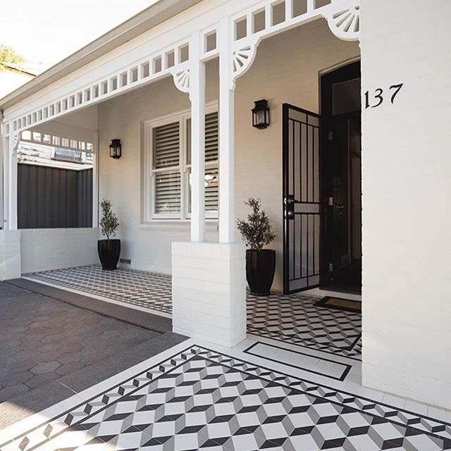 Another angle of our Drummoyne Residence, photos courtesy of @oldeenglishtiles We had great fun selecting the tessellated tiles, pavers, lighting and paint scheme to enhance this beautiful home.  #interiordesign #interior #design #styling #decor #instastyle #finishes #exteriordesign #facade #tessellated #tiles #pavers #residential #architecture #blackandwhite #geometric #pattern #classic #renovation #remodel #sydney